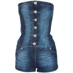 Dark Blue Stonewashed Strapless Denim Playsuit ($29) ❤ liked on Polyvore featuring jumpsuits, rompers, dresses, shorts, strapless romper, strapless denim romper, blue rompers, blue jump suit and jumpsuits & rompers