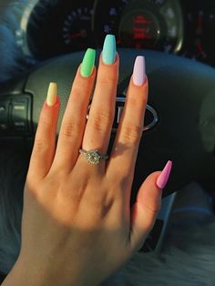 133 most eye catching different color coffin nails for prom and . Coffin Nails coffin nails for prom Simple Acrylic Nails, Summer Acrylic Nails, Best Acrylic Nails, Simple Nails, Pastel Nails, Summer Nails, Spring Nails, Acrylic Nail Designs For Summer, Pastel Goth