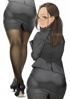 ecchi (anime erotic and sexy anime girls, schoolgirls with tits) :: ecchi Butts :: secretary :: butt (ass, bootie, buttocks) :: geek :: anime Manga Girl, Manga Anime, Anime Art, Anime Girls, Anime Sexy, Female Characters, Anime Characters, Character Art, Character Design