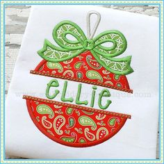 Personalized Split Bow Ornament Appliqué Shirt by RockintheTutu on Etsy  www.etsy.com/shop/rockinthetutu #rockinthetutu #ornamentchristmasshirt  #christmasshirt #ornamentshirt