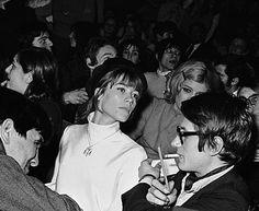 """deepskyobject: """"Françoise Hardy and Jacques Dutronc at the concert of The Rolling Stones, Olympia, Paris, April 1967 """" Chelsea Girls, French Collection, Beatnik, Sweaters And Jeans, Music Icon, Concert Posters, My People, Rolling Stones, Pretty People"""