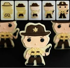 The Walking Dead (Rick Grimes) Sugar Cookies. Perfect for Halloween and the zombie lover in your life! Rick Grimes Walking Dead, Walking Dead Tv Show, Fear The Walking Dead, Sweet Cookies, Cute Cookies, Sugar Cookies, Cookies Et Biscuits, Sweet Treats, Zombie Birthday