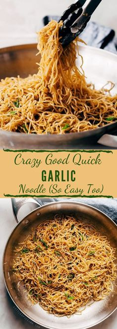 Learn how to make THE BEST quick garlic noodles. There are a few unusual ingredients here, but trust me, these are the best garlic noodles you'll ever have! The ingredient list on my quick garlic Rice Noodle Recipes, Asian Noodle Recipes, Asian Recipes, Recipes With Fideo Noodles, Healthy Rice Noodles, Ethnic Recipes, Healthy Recipes, Vegetarian Recipes, Cooking Recipes