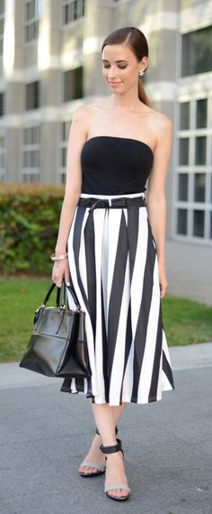 Bowknot Contrast Striped A-Line Midi Skirt   MLovesM,com