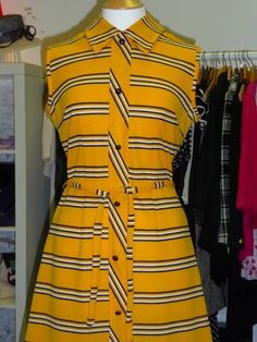 Vintage tie waist dress bright yellow with black and white stripes skinny fit! Yellow Stripes, Bright Yellow, Fit 30, Skinny Fit, Boutique Clothing, Short Sleeve Dresses, Tie, Black And White, Fitness