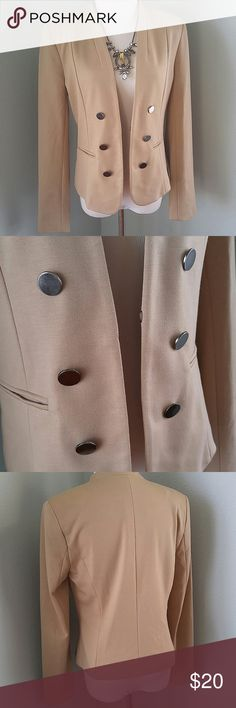 "Soft structured beige blazer Simple pewter colored buttons. Great condition. No care tags, but hand wash or gentle wash cycle should be fine. Faux pockets. 17.5"" pit to pit. 23"" length. Forever 21 Jackets & Coats Blazers"