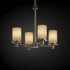 Justice Design Group Fusion Collection Mini-Chandelier | FSN-8510-10-WEVE-NCKL | Destination Lighting