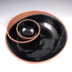 Large Red Clay Chip and Dip Serving Bowl with Black by jtceramics