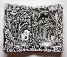 altered book – Page 2 – Reflections – Alexi Francis Altered Books Pages, Altered Book Art, Altered Tins, Realistic Pencil Drawings, Art Drawings, Book Sculpture, Paper Sculptures, Portfolio, Architecture Art
