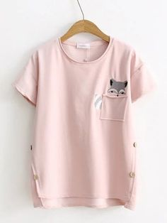 Casual Fox Embroidery Side Button Short Sleeve T-shirts For Women look chipper and natural. NewChic has a lot of women T-shirts online for your choice, believe you will find your cup of tea. Shirt Print Design, Kids Outfits Girls, Fashion Graphic, T Shirts For Women, Clothes For Women, Chic Outfits, Latest Fashion Trends, Fox Embroidery, Women's Tops