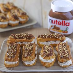 Éclair with Nutella® - Éclair with homemade Nutella®, a delicious version of the pastry eclair. Easy recipe of Benedetta - Best Chocolate, Chocolate Recipes, Baking Recipes, Dessert Recipes, Italian Biscuits, Yummy Food, Tasty, Clean Eating Snacks, Love Food