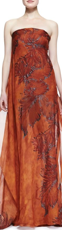 donna karan ----- I fell in love with this upon seeing it, THEN to see it's by one of my most favorite designers/philanthropists: DONNA KARAN! Love Fashion, High Fashion, Sienna, Coral, Beige, Donna Karan, Beautiful Gowns, Burnt Orange, Her Style