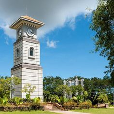 The historical clock tower of was first built in 1906 CE Photo Arch Doorway, Labuan, Tower Building, Time Stood Still, Old Clocks, Borneo, Big Ben, Victoria, Island