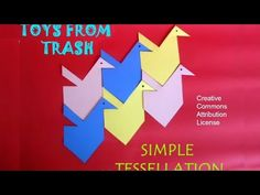 A tessellation is a way of tiling a plane surface using the same shape again and again. Cut two triangles from a square to make a shape of a house. Transpose...