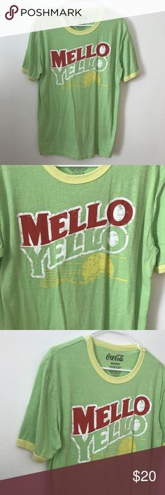Medium MELLO YELLOW Green Tee Shirt Soda Pop Coke Men's MELLOW YELLOW Tee Shirt  Size: Medium 38/40  Measurements In Inches: Across the Chest: 21 Length: 28  Very good, clean condition with no rips or stains!  Clothing measurements are taken in inches with the garment laying on a flat surface. Across the Chest is from under one arm to the other. Body Length is from the collar seam to the hem. Sleeve is from shoulder seam to the cuff; if no seam, measurement is from the collar to the cuff…