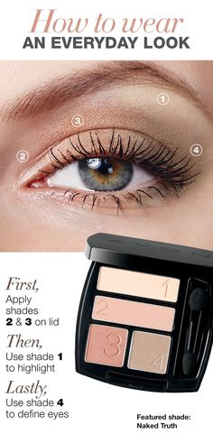 Everyday makeup look, natural eyes, simple makeup, AVON, Nudes Exquisite stay-true coordinated matte shades make every eye look effortless. You will love this product from Avon: Avon True Color Eyeshadow Quad Avon's True Color Matte Eyeshadow Quad includ Avon Eyeshadow, Natural Eyeshadow, Nude Eyeshadow, Natural Eye Makeup, How To Wear Eyeshadow, Easy Eyeshadow, Simple Eyeshadow Looks, Easy Eyeliner, Eyeshadow Brushes