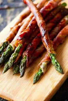 Sure way to get guys to eat their veggies, wrap them in bacon!
