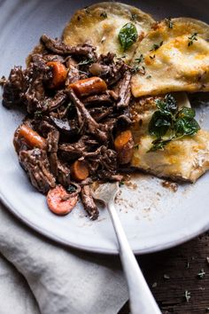 Crockpot Braised Red Wine Short Ribs with Cheddar Potato Perogies | halfbakedharvest.com @hbharvest