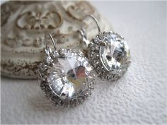 Bridal Swarovski Clear Crystal Diamond by LeahJewelryDesigns, $64.00