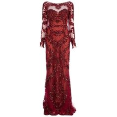 ZUHAIR MURAD floral embellished gown ($9,055) ❤ liked on Polyvore featuring dresses, gowns, long dresses, vestidos, red gown, beaded gown, long-sleeve floral dresses, long sleeve evening dresses and long sleeve dress