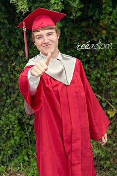 Male senior session. Cap and gown - Graduation!  Thumbs up and ready to walk!  Photo credit: Reéactions.