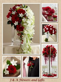 Red Wedding Flowers by J & A Flowers and Gifts.