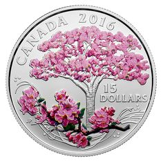 Fine Silver Coloured Coin - Celebration of Spring: Cherry Blossoms -Mintage: 6,500 (2016)