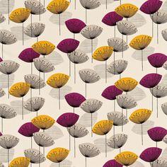 Contemporary designer, Fiona Howard, designed this fun and funky 50's retro pattern for the Sanderson studio in 2009. Sanderson 50s Fabrics Collection. Pinned by Secret Design Studio, Melbourne, www.secretdesignstudio.com
