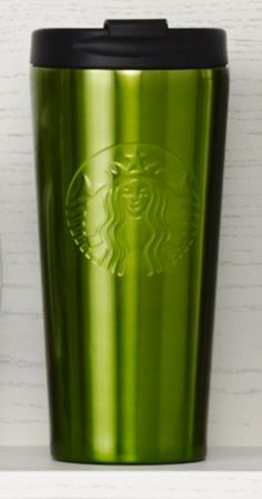 Insulated stainless steel tumbler with an embossed Siren logo and green finish. #Starbucks #DotCollection