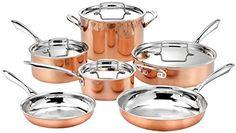 """Cuisinart 10pc Tri-Ply Cooper Cookware Set: 1qt with Cover,2.5qt with Cover,4qr Saute with Cover and Helper Hander, 8"""" and 10"""" Skillets, 8 Quart Stock Pot, 20 Piece Set, Copper"""