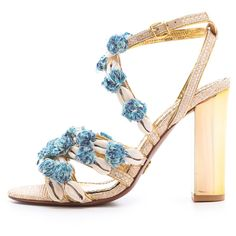 Tory Burch Ambrosia Embellished Sandals ($277) ❤ liked on Polyvore featuring shoes, sandals, high heel sandals, leather sole shoes, tory burch footwear, decorating shoes and beach sandals