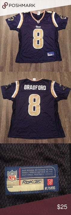 Authentic St. Louis Rams Sam Bradford jersey Vintage St. Louis Rams female size medium Sam Bradford number 8 Jersey! Great condition and great buy since it is a throwback jersey from when the Rams were in St. Louis Reebok Tops
