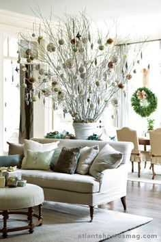 White branches hung with ornaments by Gretchen Edwards and Nicholas Kniel. For Atlanta Homes & Lifestyle magazine.