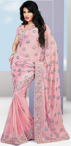 Pink Faux Georgette Embroidered Saree - IG7039 USD $ 107.96