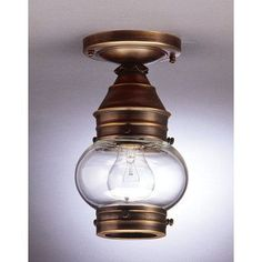 "Northeast Lantern Onion 5"" Socket No Cage Semi Flush Mount Finish: Antique Copper, Shade Color: Optic"
