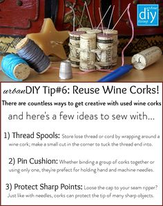 urbanDIY tips are brought to you by www.urbanDIYliving.com Thread Spools, Handmade Home, Reuse, Cork, Wraps, How To Get, Sewing, Creative, Diy