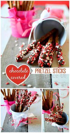 Chocolate covered pretzel sticks{ Valentine's Day gift} |@placeofmytaste.com #valenitne