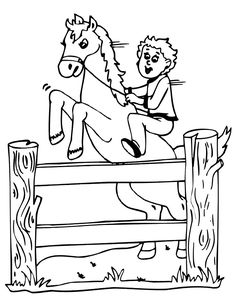 78 best farmer boy enrichment activities images teaching supplies  a boy on a horse jumping a fence is a terrific printable horse coloring worksheet for all young kids who are crazy about horses