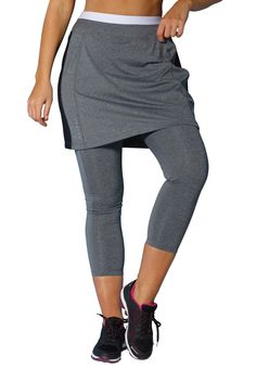 """Imagine a skort with improved coverage. We've taken the great stretch fabric used on all of our fullbeautySPORT® bottoms and created a unique capri skirt! You'll never move so easily and feel so confident while you do it. Perfect for the gym or you home workout routine.  relaxed fit aids movement, skirt has a flattering A-line silhouette 21"""" capri inseam reaches the upper calf, while the 17"""" skirt length flows with ease to just above the knees on most women 5'4""""-5'7"""" full elastic waist ..."""