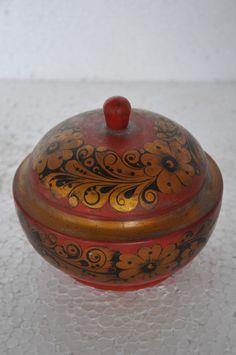Old Wooden Floral Design Unique Shape Lacquer Powder Box, Collectible.