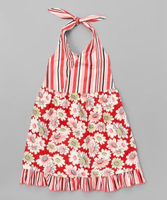 Look what I found on #zulily! Beary Basics Red Daisies Halter Dress - Toddler & Girls by Beary Basics #zulilyfinds