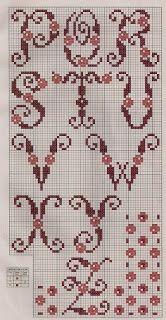 Shades of Mauve Alphabet Cross Stitch Pattern Monograma Cross Stitch Letters, Cross Stitch Boards, Cross Stitch Needles, Crochet Alphabet, Embroidery Alphabet, Crochet Letters, Alphabet Design, Monogram Alphabet, Cross Stitching