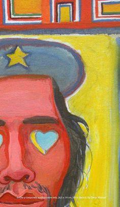 El Che y corazones, acrílico sobre tela, 26,5 x 19 cm. 2015. painting for sale by Diego Manuel