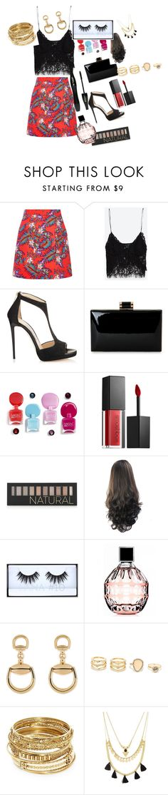"""Untitled #116"" by brunagzilli on Polyvore featuring House of Holland, Zara, Jimmy Choo, Smashbox, Forever 21, Huda Beauty, Lancôme, Gucci, LULUS and ABS by Allen Schwartz"