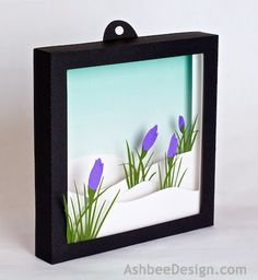 3d Shadow Box - Crocus in Snow, Silhouette Project constructed in paper by Marji Roy of AshbeeDesign.com