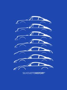 "silhouettehistory: "" Boxer Sports Car SilhouetteHistory Silhouettes of Porsche 911 generations: 911 classic w. and w/o big bumpers, 964, 993, early 996, 997 and 991 Home 