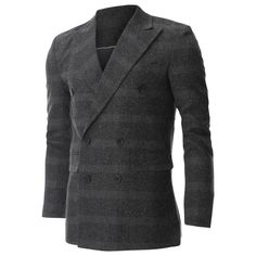 FLATSEVEN Mens Wool Check Plaid Peak Lapel Double Breasted Blazer Jacket (BJ474) - Blazers #mensfashion #men #clothing #jacket #FLATSEVEN #outfits #CYBERMONDAY