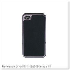 Funda con borde plateado para Iphone 4 (Negro)