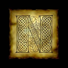 """Celtic Letter N"" by Kristen Fox: An original, hand-drawn letter N from the full alphabet done in Celtic style, with intricate knotwork, spirals, and leaves, on a faux parchment background on a black field. A wonderful monogram pri..."