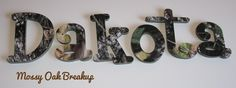 Mossy Oak Breakup Camo Nursery Wall Letters. Hunting Themed Nursey  http://funkyletterboutique.com/item_106/Realtree-Hardwoods-Camo-Wall-Letters.htm